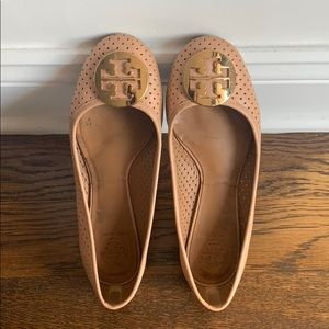 Tory Burch Light Pink Leather Ballet Flats